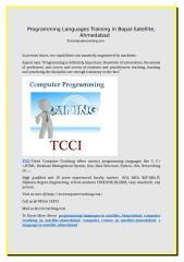 Programming Languages Training in Bopal-Satellite, Ahmedabad.doc